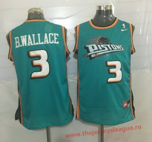 Hot Cheap Sale Apparel Detroit Pistons #3 Ben Wallace Teal Green Hardwood Classics Soul Swingman Throwback CQU1382