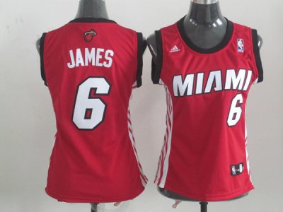 Online Cheap Miami Heat #6 LeBron James Red Merchandise Women SCD4354