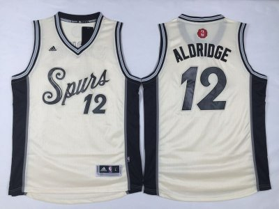 Smooth San Antonio Spurs #12 LaMarcus Gear Aldridge Revolution 30 Swingman 2015 Christmas Day Cream VVR1011