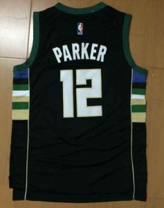 Temperament Jersey #12 Jabari Parker Milwaukee Bucks Black UAG2817