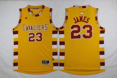 Wholesale 2016 Cavaliers Clothing #23 Lebron James Finals yellow SEC221