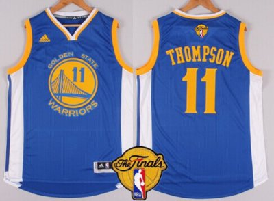 Beautiful Golden State Warriors #11 Klay Thompson Blue 2016 The Jerseys Finals Patch BKG4