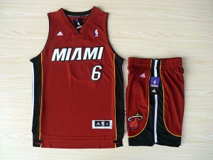 Best Revolution 30 Shorts Miami Heat #6 Apparel Lebron James Swingman Red Rev Basketball Suits VHO4523
