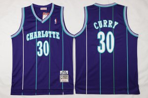 Buy Authentic Mitchell And Ness Charlotte Hornets #30 Dell Curry Purple NBA Throwback Stitched JXY628