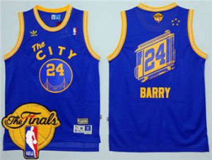 Buy Discount Warriors #24 Rick Barry Blue Throwback The City The Finals Patch Stitched Gear OLZ1841