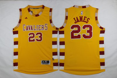 Buy Online Cavaliers #23 LeBron James Gear Yellow Throwback Short Sleeve Stitched JYA1187