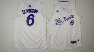 Buy Online Los Angeles Lakers# 6 Jordan Clarkson Jerseys White Christmas Day HXD963