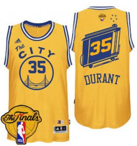 Classic version Warriors Basketball #35 Kevin Durant Gold Throwback The City The Finals Patch Stitched CVL1870
