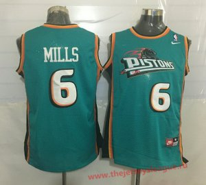 Fashion Detroit Pistons #6 Terry Mills Teal Green Hardwood Classics Soul Swingman Apparel Throwback YKU1392