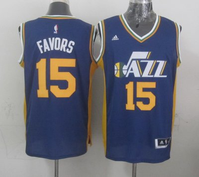 Hot Sale Cheap Mens Utah Jazz Derrick Favors blue 2014 15 Swingman Gear Road XLW4132