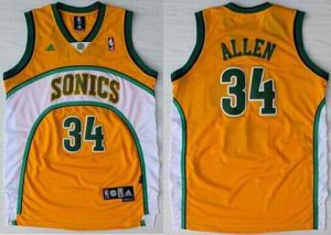 Hot Sale Seattle Sonics 34 Clothing Ray Allen Swingman Throwback Yellow WHV3802