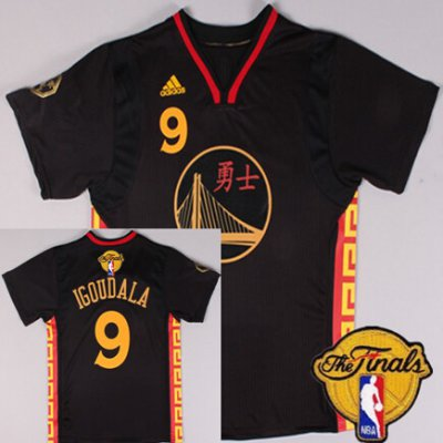 Latest Arrival Golden State Warriors #9 Andre Iguodala Clothing Chinese Black 2016 The Finals Patch HOV41