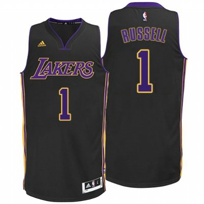 2018 Online Cheap Lakers #1 D'Angelo Russell Hollywood Jerseys Nights Black BFK2338