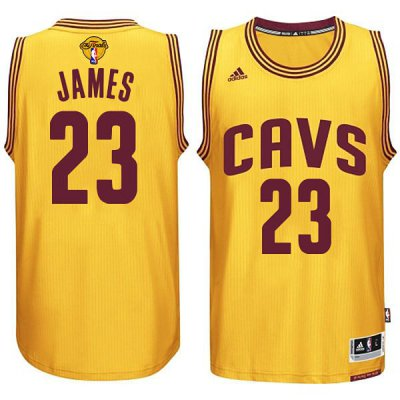 Best Jersey 2016 Cavaliers Finals #23 King James yellow LEP239