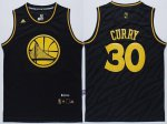 Buy Cheap Men Golden State Warriors #30 Stephen Curry Revolution 30 Swingman 2015 Black With Gold Jerseys EUU1675