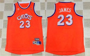 Comfortable Cleveland Cavaliers 23 Lebron James Orange Clothing Cavs Throwback PAR1191