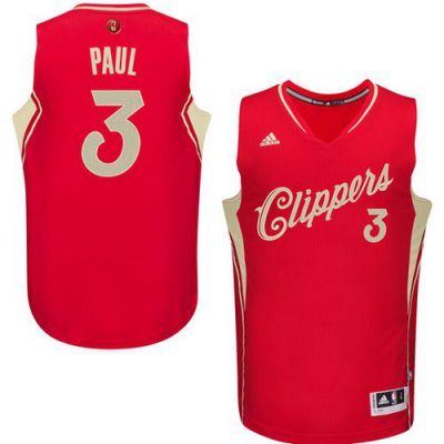Genuine Clippers #3 Jerseys Chris Paul Red 2015 2016 Christmas Day Stitched FJM988