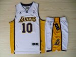 Hot 2017 Revolution 30 Shorts Los Angeles Lakers #10 Steve Nash Gear Swingman White Home Rev Basketball Suits UCS4526