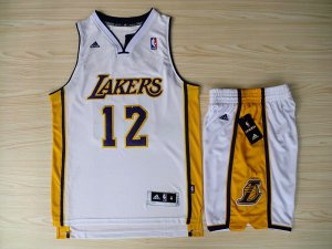 Hot Online Revolution 30 Shorts Los Angeles Lakers #12 Dwight Howard Swingman White Home Jersey Rev Basketball Suits MHN4508