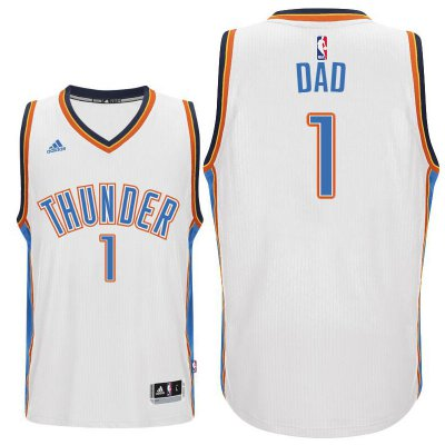 Order Father's Day Gift Oklahoma City Thunder #1 Dad Logo White Home Gear Swingman JLY3103