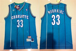 Originals Charlotte Hornets Alonzo Mourning Jersey Swingman : #33 Light Blue Throwback Mens YFN619