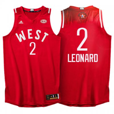 Unique design 2016 Jerseys All Star Western Conference Spurs #2 Kawhi Leonard Red IZS325