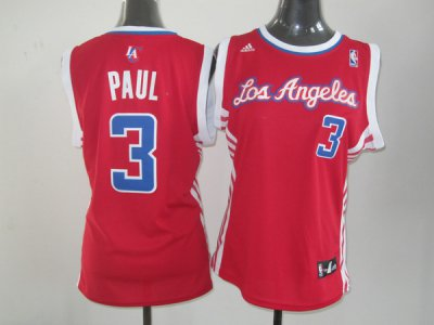 Wholesale Cheap Los Angeles Clippers #3 Paul Red Women's NBA TCV4352