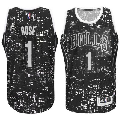 Best Chicago Bulls Clothing #1 Derrick Rose City Lights Black Swingman FBL708