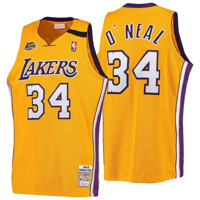 Best Los Angeles Lakers #34 Shaquille Jerseys O'Neal 2016 17 Season Gold 1999 00 Hardwood Classics Throwback CMU2345