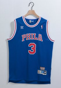 Cheap Philadelphia Sixers #3 Allen Iverson Blue With PHILA Swingman Throwback Clothing EPE3252