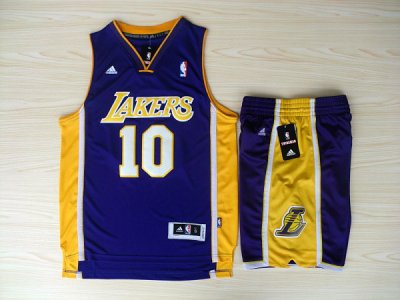 Cheap and good Revolution 30 Shorts Los Angeles NBA Lakers #10 Steve Nash Swingman Purple Home Rev Basketball Suits SFF4525