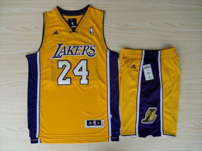 Discount Revolution 30 Los Angeles Lakers #24 Kobe Bryant Swingman Yellow Road Rev Basketball Suits Apparel KWO4530