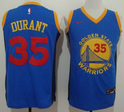 Hot Cheap Sale Warriors #35 Kevin Durant Blue Red No. Gear Stitched XLZ1604