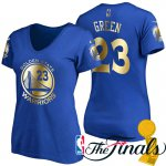 Hot Deal Women's 2017 Finals Golden State Warriors #23 Jerseys Draymond Green Royal Gilding Name & Number T Shirt TZB4221