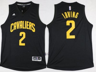Latest Arrival Cleveland Cavaliers #2 Kyrie Irving Revolution 30 Swingman Basketball 2016 Black With Gold DAB1044