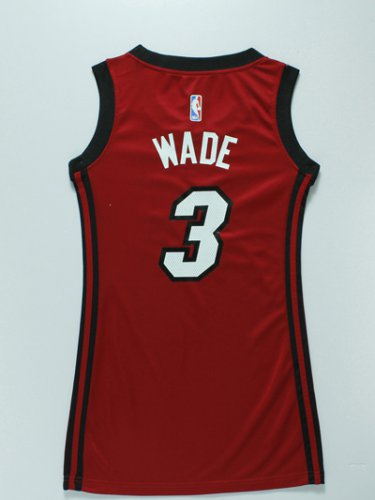 Online Hot Women Miami Heat 3 Dwyane Wade Red Dress Merchandise GVS4268