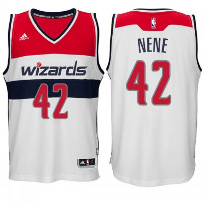 Shop Cheap Washington Wizards #42 Nene Hilario Apparel Swingman White LEL4191