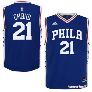 Wholesale Philadelphia 76ers Jersey #21 Joel Embiid Basketball Blue Heat WWN3231
