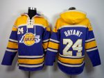 Attractive Los Angeles Lakers 24 Kobe Bryant purple and yellow Sawyer Hooded Sweatshirt Basketball PWP4381