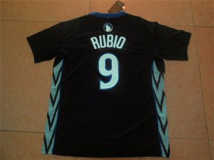Breathable Jersey Minnesota Timberwolves #9 Ricky Rubio Black Alternate Stitched PQA2868