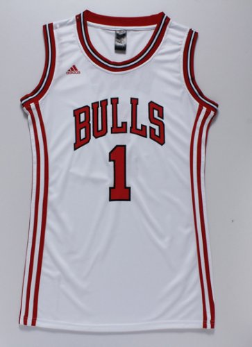 Cheap Online 2018 Merchandise Women Chicago Bulls 1 rose white dress WXQ4263