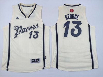Cheap Online Sale Indiana Pacers Paul George Jersey #13 Cream Christmas Day Swingman Stitched KKO995