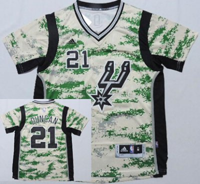 Cheap Online Sale Jersey San Antonio Spurs #21 Tim Duncan Camo Short Sleeved Jerse ZYJ3640