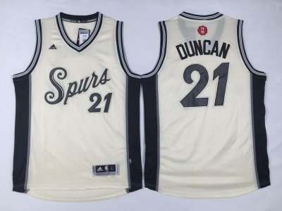 Discount on Men's San Antonio Spurs Jerseys #21 Tim Duncan Revolution 30 Swingman 2015 Christmas Day Cream IQD1002
