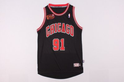 Full of charm #91 Rodman Jersey Bulls final black (heat applied) LDO747