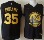 Good quality Gear Warriors #35 Kevin Durant Black Stitched RYL1603