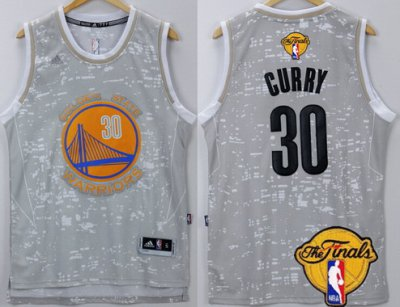 Good work Golden State Gear Warriors #30 Stephen Curry Gray City Lights 2016 The Finals Patch IVL26