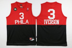 Online Sale Philadelphia 76ers #3 Iverson black Red 2016 The Season NBA FKJ3259