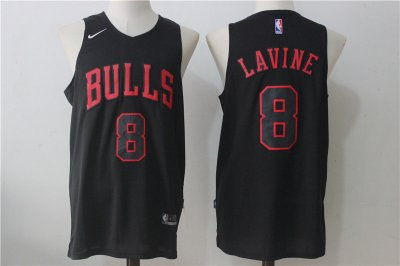Popular Chicago Bulls #8 Zach LaVine 2017 18 Road Red Swingman Apparel ESS668