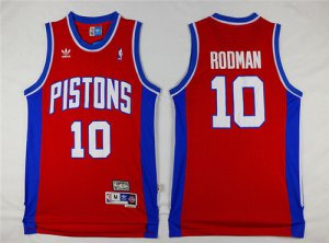 Temperament Detroit Jerseys Pistons #10 Dennis Rodman Red Hardwood Classics Soul Swingman Throwback UKJ1398